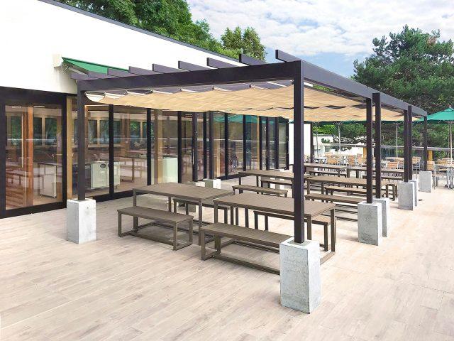 オープンカフェなど憩いのスペースをつくるパーゴラ・ポーチ