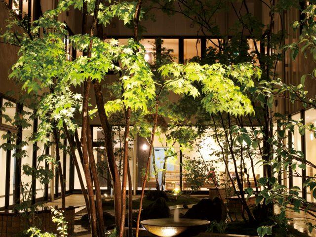 ウォーターガーデンにライティングをプラスして幻想的な空間に